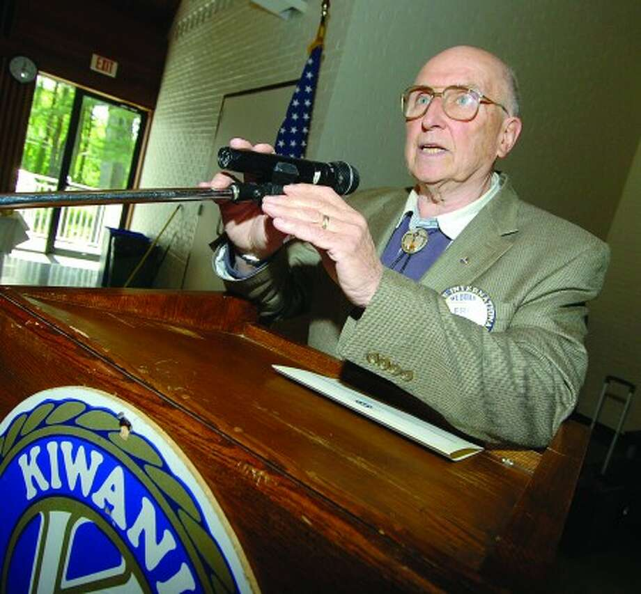 Wilton Villager Photo/Alex von Kleydorff. Kiwanis President Fred Sindell, welcomes the group to its weekly meeting at WEPCO in Wilton file---06-06-08