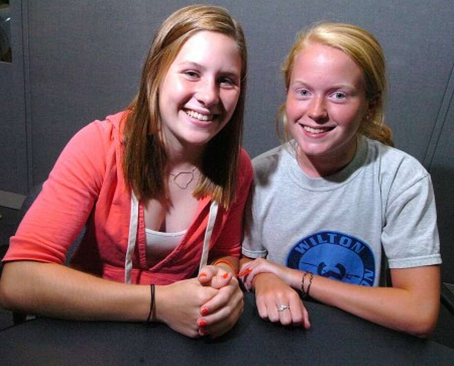 Photo/Alex von Kleydorff. Kate Gunts, left, and Grace Lyons, recent Wilton High School graduates, will be blogging from the Olympics exclusively for the Wilton Villager.