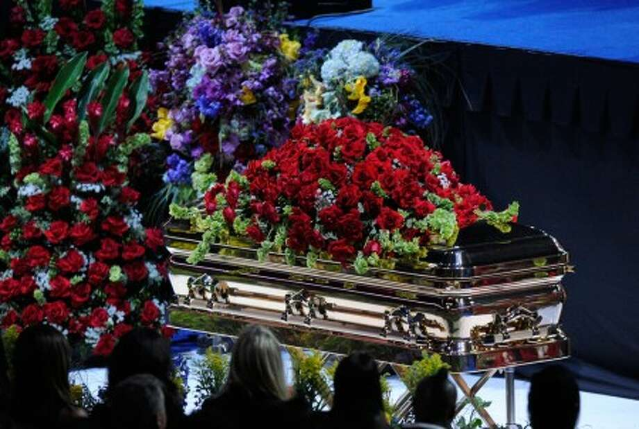Michael Jackson''s casket is displayed at the Jackson public memorial service held at Staples Center on Tuesday, July 7 in Los Angeles. (AP Photo/Kevork Djansezian, Pool)