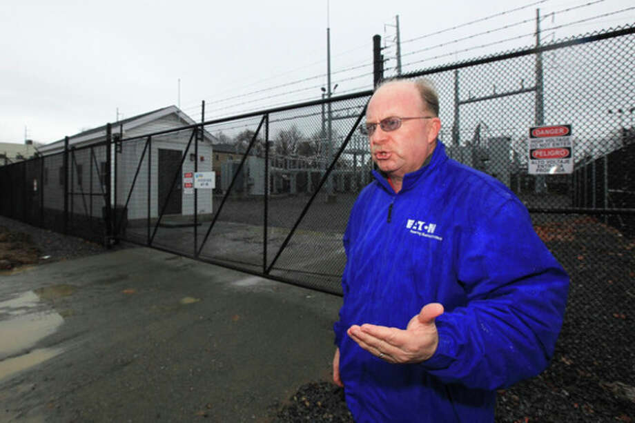 Hour photo / Chris PalermoThird Taxing District General Manager Jim Smith talks about the completed $8 million substation at 6 Fitch St. in East Norwalk Monday. / © 2013 Hour Newspapers All Rights Reserved.
