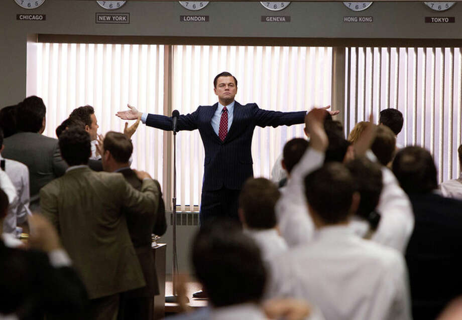 """This film image released by Paramount Pictures shows Leonardo DiCaprio as Jordan Belfort in a scene from """"The Wolf of Wall Street.""""(AP Photo/Paramount Pictures, Mary Cybulski) / Paramount Pictures"""