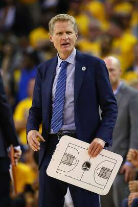 OAKLAND, CA - JUNE 13:  Head coach Steve Kerr of the Golden State Warriors reacts during the second half against the Cleveland Cavaliers in Game 5 of the 2016 NBA Finals at ORACLE Arena on June 13, 2016 in Oakland, California. NOTE TO USER: User expressly acknowledges and agrees that, by downloading and or using this photograph, User is consenting to the terms and conditions of the Getty Images License Agreement.  (Photo by Ezra Shaw/Getty Images)