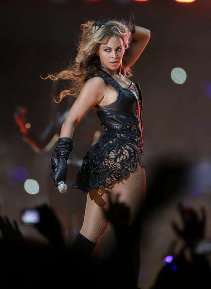 FILE - In this Feb. 3, 2013 file photo, Beyonce performs during the halftime show of the NFL Super Bowl XLVII football game between the San Francisco 49ers and the Baltimore Ravens, in New Orleans. (AP Photo/Mark Humphrey, File)