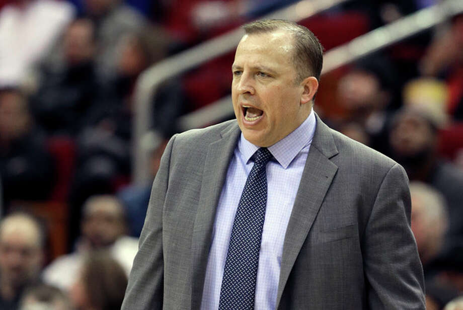 Chicago Bulls coach Tom Thibodeau yells to his players in the first half of an NBA basketball game against the Houston Rockets, Wednesday, Dec. 18, 2013, in Houston. (AP Photo/Pat Sullivan) / AP