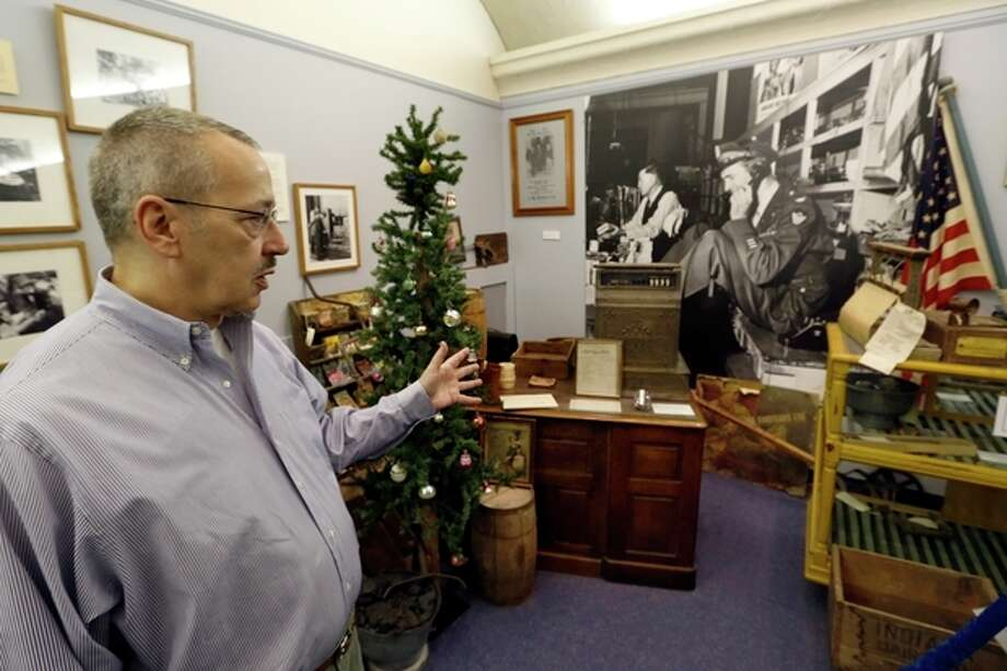 "In this photo made on Friday, Dec. 20, 2013, Timothy Harley, executive director of the Jimmy Stewart Museum, talks about the display depicting the hardware store that the father of Hollywood legend Jimmy Stewart owned and ran at the museum in indiana, Pa. The museum dedicated to the life of the star of many films including the holiday favorite ""It's A Wonderful Life"" is located in the off-the-beaten track town where Stewart grew up. The museum still attracts visitors from all over the country. It's full of displays not just about Hollywood, but about Stewart's service as a bomber pilot in World War II, his well-to-do ancestors, and his family life. (AP Photo/Keith Srakocic) / AP"