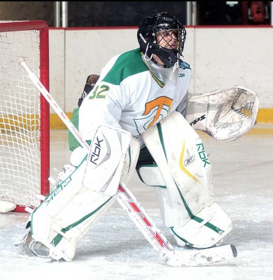 Photo by John Nash - Trinity Catholic goaltender Anthony Chiaramonte leads the top-seeded Crusaders into the FCIAC tournament this weekend.