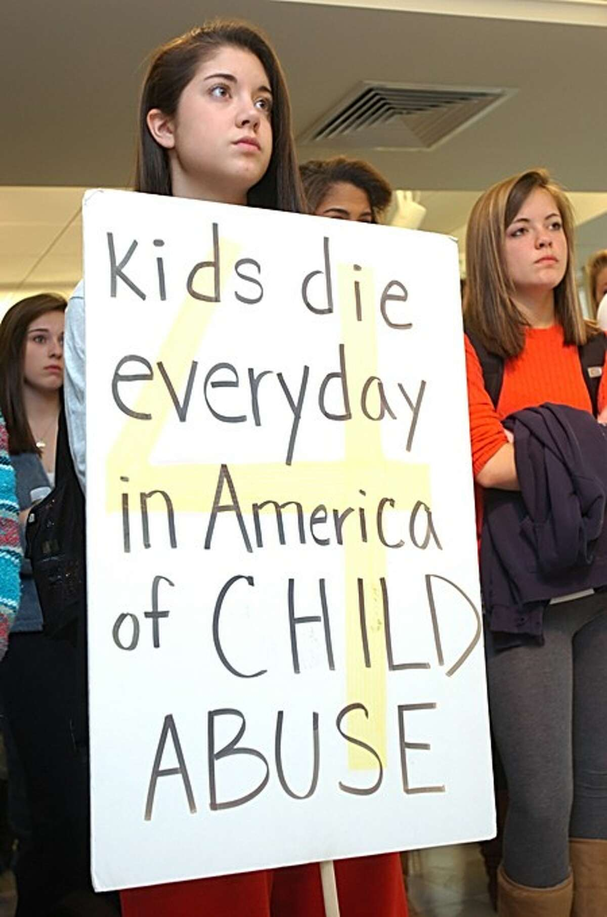 BMHS senior and member of the Senators Community Foundation Bittaney Curcio attended a press conference held by the Center For Youth Leadership to kick off Child Abuse Awareness Month Wednesday at the school. Hour photo / Erik Trautmann