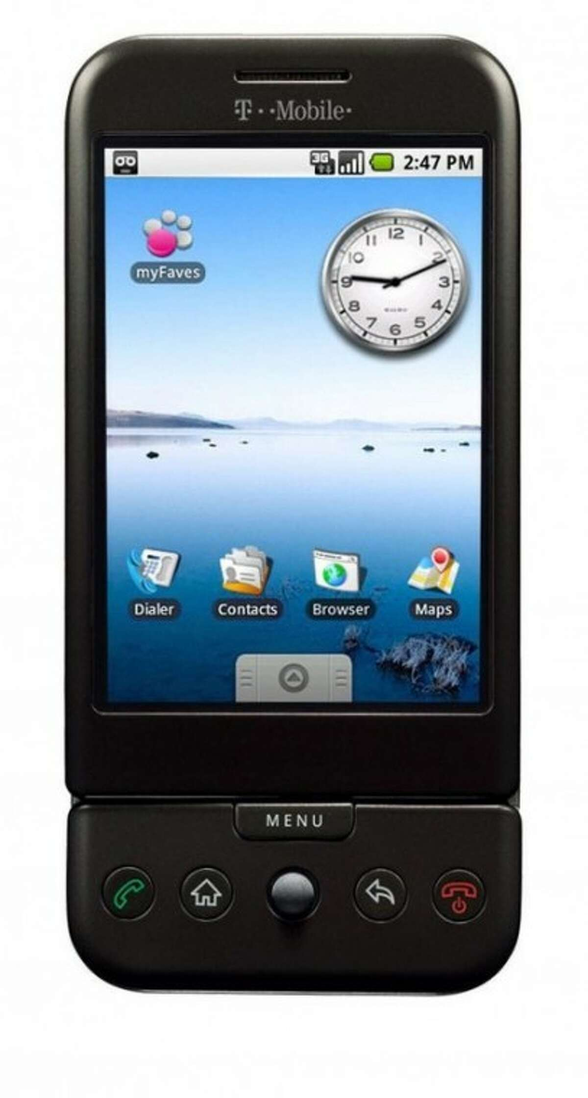 T-Mobile''s first mobile phone powered by Google''s open-source Android operating system. MCT photo