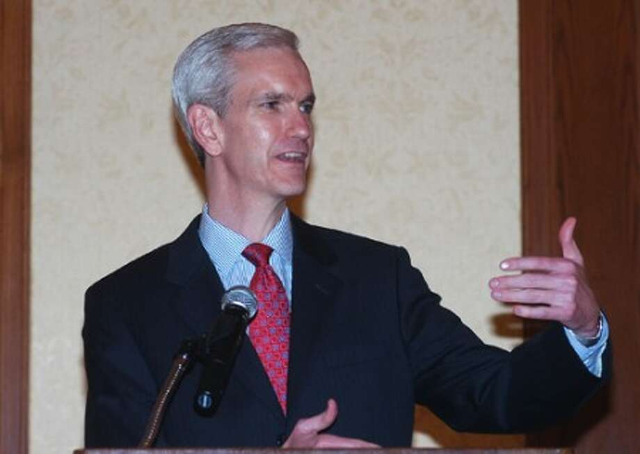 Photo/Alex von Kleydorff. Senator Andrew McDonald speaks at the Stamford Chamber lunch