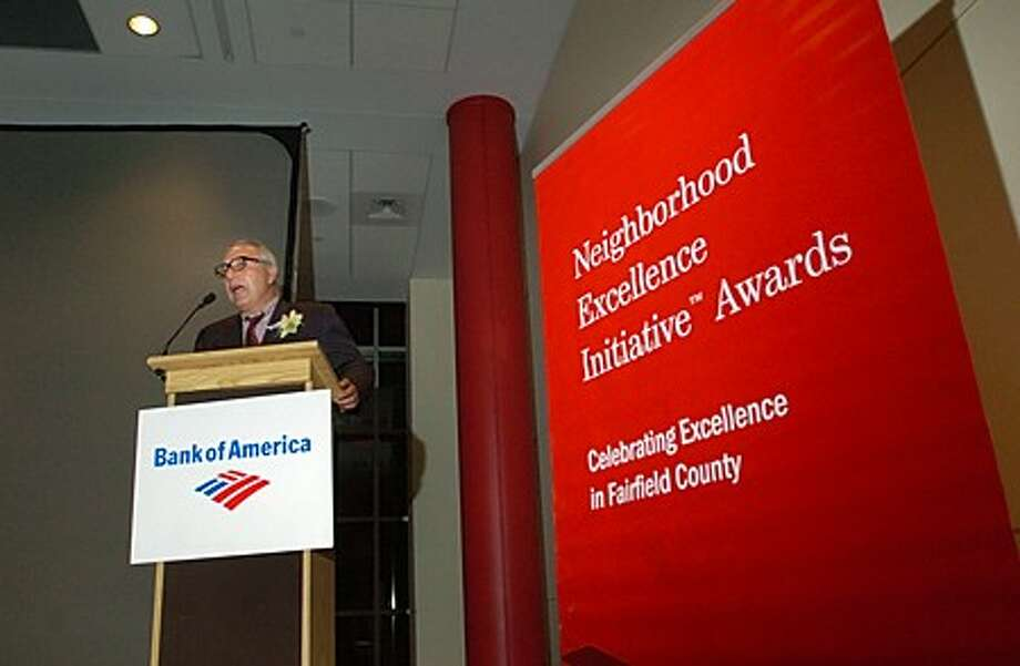 Financial executive and volunteer at Stamford''s Liberation House, Emilio Funicella, remarks after being honored with one of the Bank of America Local Hero awards presented at the bank''s 2009 Neighborhood Intitiative Awards ceremony at the Palace Theater Thursday evening. Hour photo / Erik Trautmann
