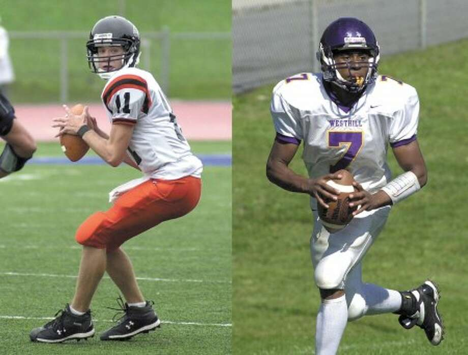 Photos by John Nash - Left photo, Mitch O''Meara of Stamford; Right photo, Adler Florian of Westhill.