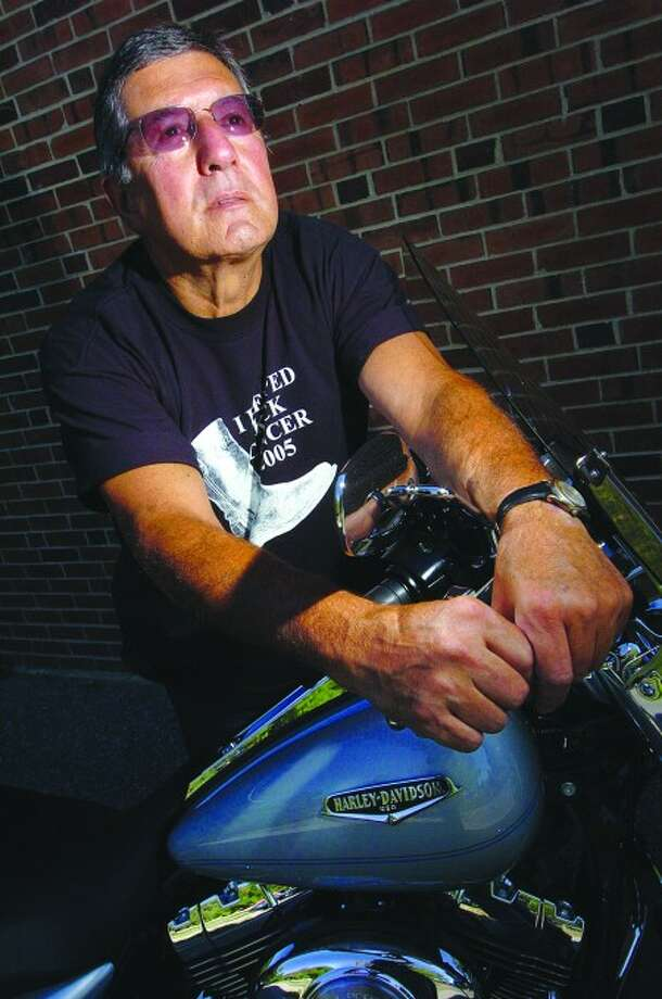 Photo/Alex von Kleydorff. Cancer survivor Mike Santora on his Harley davidson, is a big part of the American Cancer Society''s Kick It Motorcycle ride.