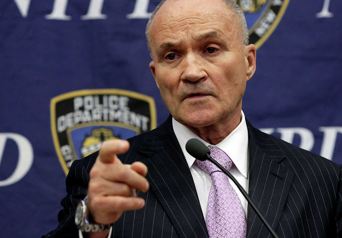 FILE- In this Nov. 1, 2013 file photo, New York City Police Commissioner Raymond Kelly responds to a question about his department's stop-and-frisk policy, during a news conference at police headquarters, in New York. Kelly, who leaves his post at the end of the year, says the high points of his career are the record crime reductions and the fact the city has avoided another terrorist attack. (AP Photo/Richard Drew, File)