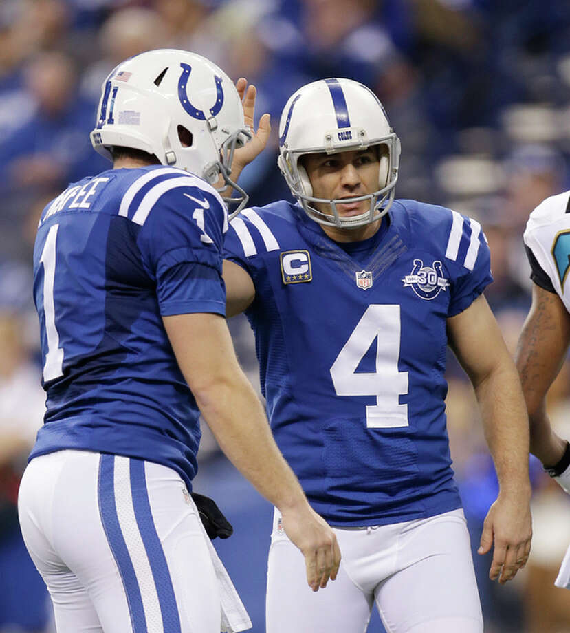 Indianapolis Colts' Adam Vinatieri (4) is congratulated by Pat McAfee (1) after kicking a 23-yard field goal during the first half of an NFL football game against the Jacksonville Jaguars, Sunday, Dec. 29, 2013, in Indianapolis. (AP Photo/AJ Mast) / FR123854 AP