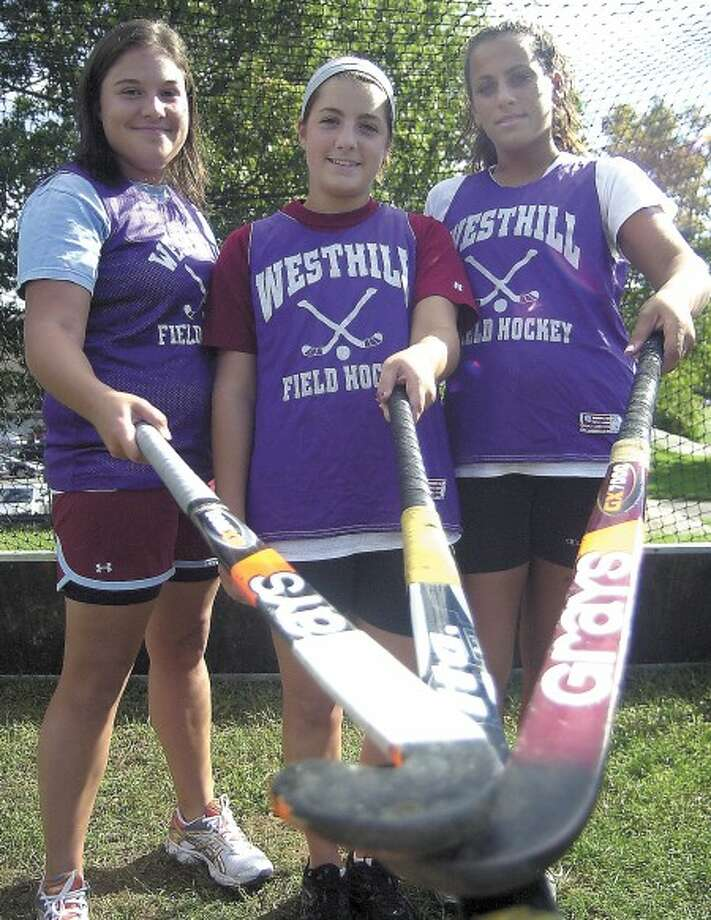 Westhill''s Allie Oakes, Brittany Longo and Safiya Elkady represent the front line, the midfield and the defense of the Vikings.
