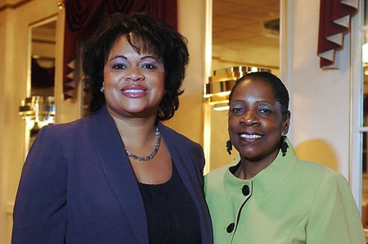Jakie Starks, left, was the featured speaker at the interfaith group dinner of Fairfield County Women United, founded by Addie Stevens, right, this past Sunday afternoon. Hour photo / BEN GANCSOS