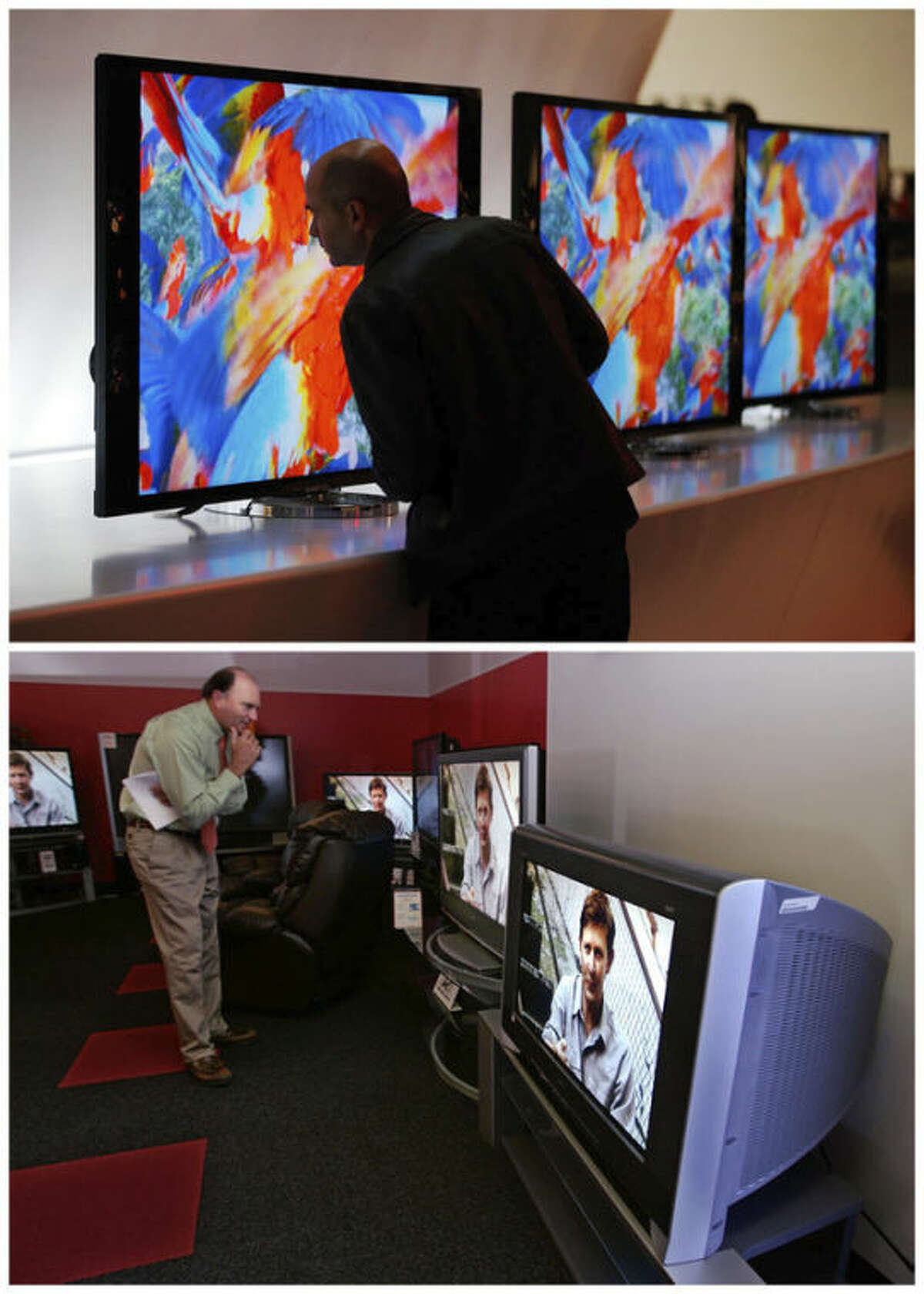 FILE -In this combination of Associated Press file photos, a man, top, looks at the back of a Sony's 4K XBR LED television in Las Vegas, on Monday, Jan. 7, 2013. and bottom, a man ooks at a CRT television in Redwood City, Calif., on Wednesday, Oct. 18, 2006. Some 40-inch LED televisions bought in 2013 use 80 percent less power than the cathode ray tube televisions of the past. Some use just $8 worth of electricity over a year when used five hours a day. (AP Photo/File)
