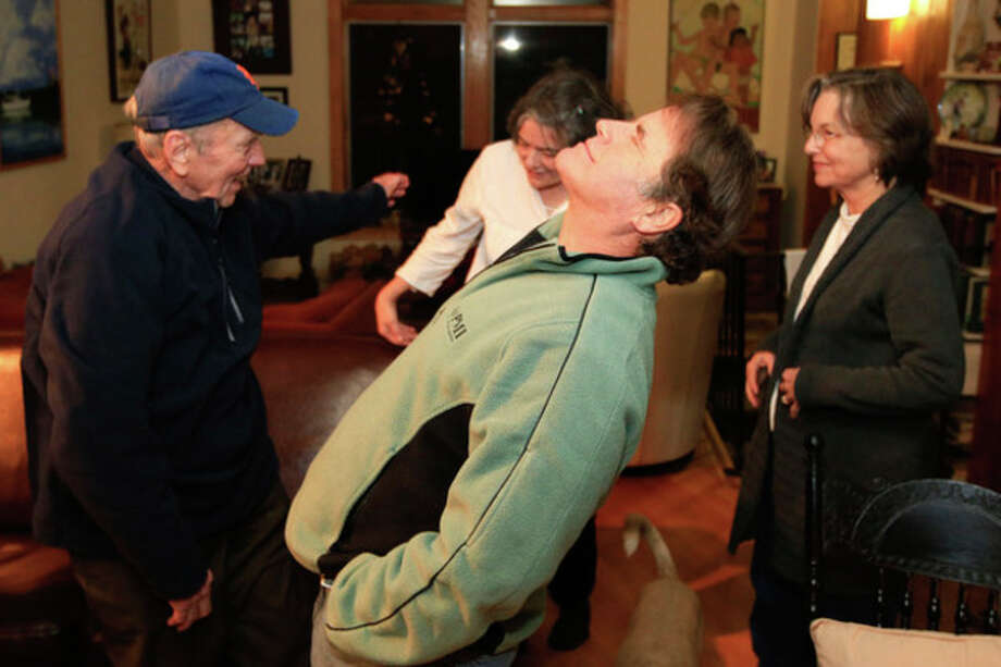 (Hour photo / Chris Palermo) Peter Willcox breathes a sigh of relief after stepping into his parents home in Norwalk after his return. / © 2013 Hour Newspapers All Rights Reserved.