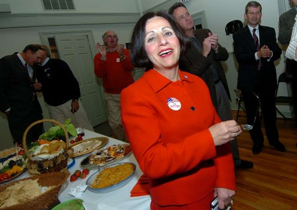Photo/Alex von Kleydorff. Toni Boucher is hailed with Applause at Republican HQ, The Old Town Hall, as numbers predict her win.