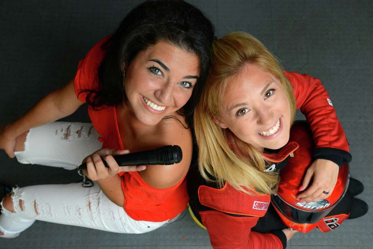 From left, Angelica Salem, 23, and Sarah Edwards, 24, both of Stamford and who have been best friends for over a decade, are photographed on June 14, 2016 at Salem's Stamford home. Edwards, who is a brand-new drag racing and pilots the Queens of Diamonds II Jet Dragster and recently won her second professional race, along with Salem, who is working on a professional singing career and sang the National Anthem at Edwards last competition, both say they love how their realizing dreams have intertwined.
