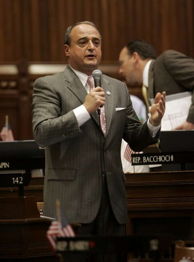Connecticut House Minority Leader Rep. Lawrence Cafero, R-Norwalk, speaks during debate in the Hall of the House at the state Capitol in Hartford, Conn., Friday, May 22, 2009. The House was debating proposed legislation to mitigate the state''s looming budget deficit. (AP Photo/Bob Child)