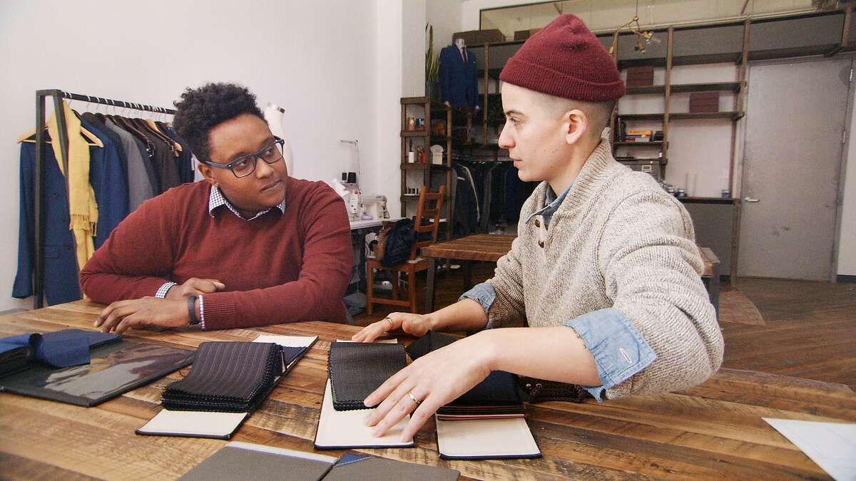"""Everett, left, talks to Bindle &Keep's Rae Tutera about the suit he is ordering in the film """"Suited"""""""