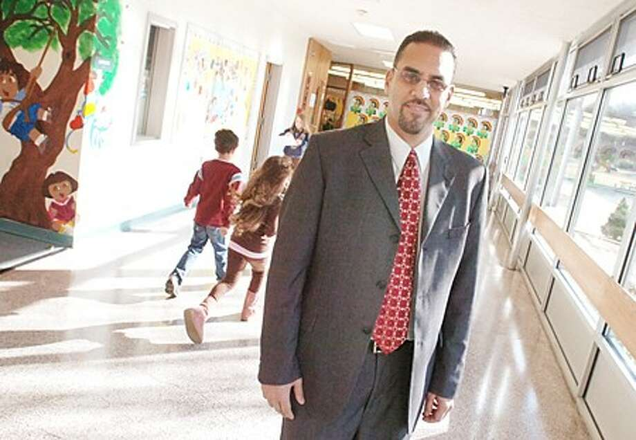 James Martinez on his first day as the new principal at Fox Run elementary school/hour photo matthew vinci