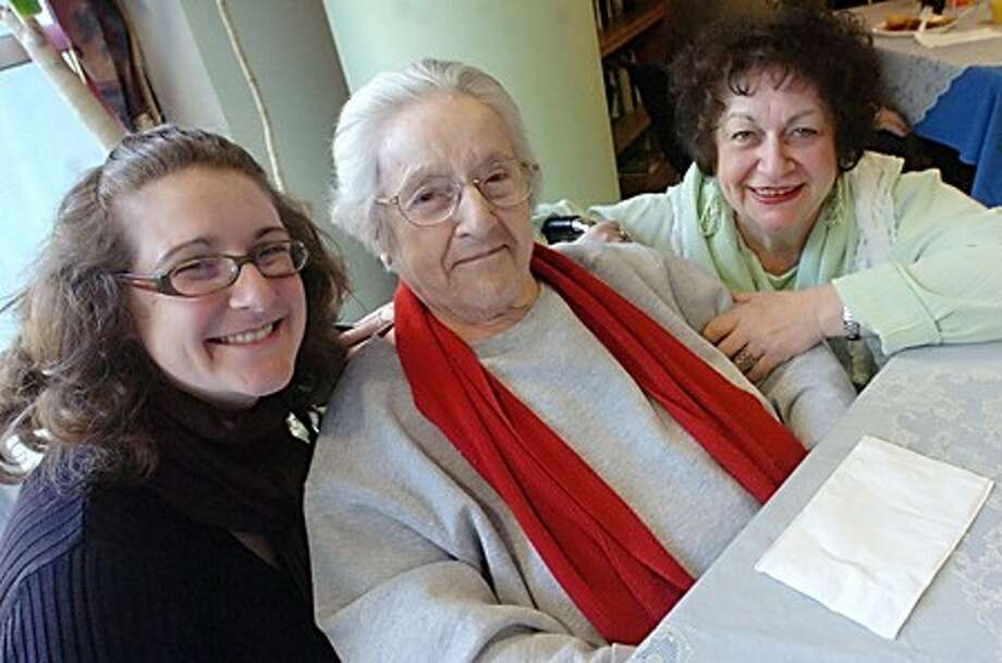 Beatrice Santarsiero 85, with her daughter Patty Coppola and grand daughter Tricia Bailey celebrate Mothers Day at the Honey Hill care center in Norwalk on Sunday/hour photo matthew ivnci