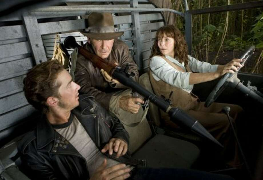 """Shia LaBeouf, from left, Harrison Ford and Karen Allen co-star in Paramount Pictures'' thrill-adventure """"Indiana Jones and the Kingdom of the Crystal Skull."""" (Paramount Pictures/MCT)"""