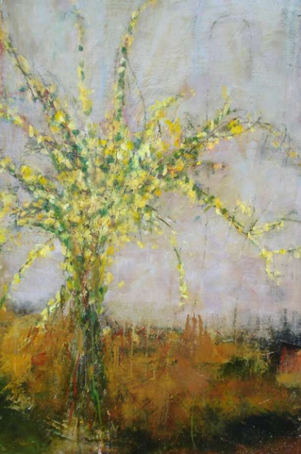 """""""Yello Forsythia"""" by Cynthia Packard at Galerie Sono."""