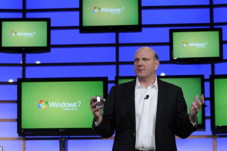 Steve Ballmer, Microsoft CEO, speaks at the global launch of Microsoft''s Windows 7 operating system on Oct 22. (Rebecca McAlpin/Microsoft/MCT)