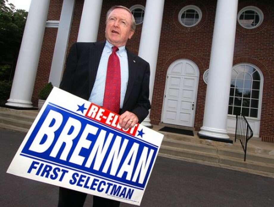 Photo/Alex von Kleydorff. Bill Brennan announces his run for Wilton''s First Selectams office, in front of Town Hall Monday.