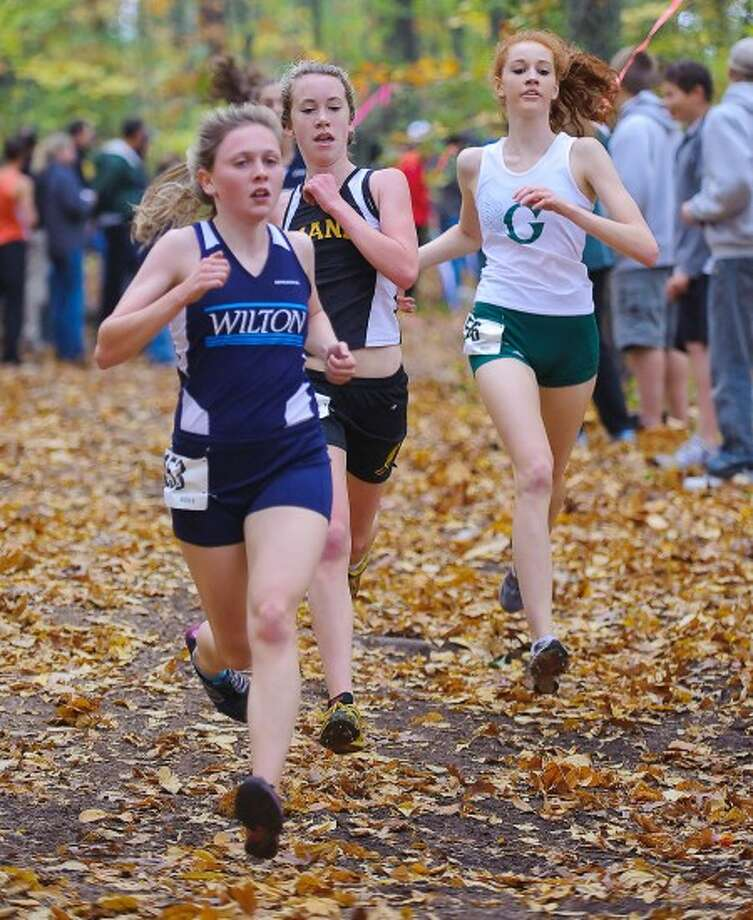 Photo by Fred Gaston - Wilton''s Cara Costich, seen here in action during the State Class MM meet, helped her team qualify for New Englands.