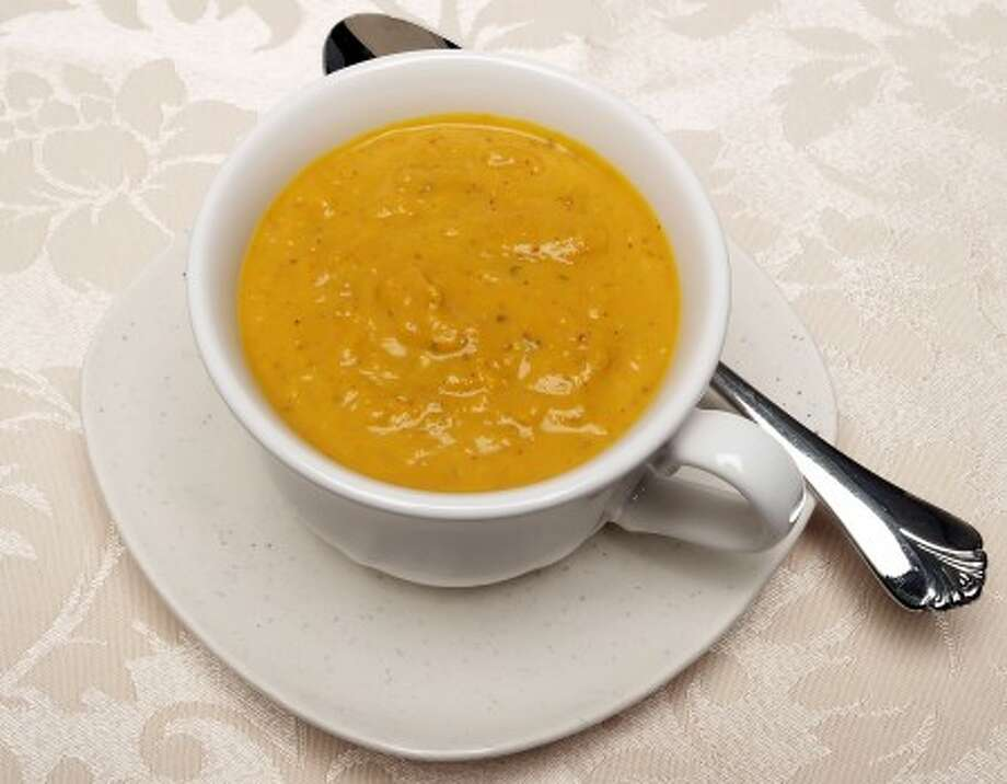 This version of pumpkin soup is spiced up withe chiles and ground almonds. (Steve Kosko/The Modestop Bee/MCT)