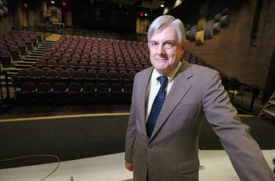 Photo/Alex von Kleydorff. Wilton superintedent of schools Dr. Gary Richards in the newly remodeled Litte Theater at Wilton high School.