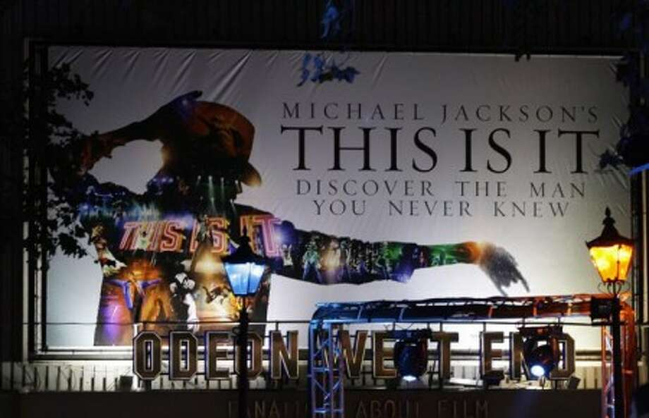 A general view of a large billboard on display in London''s Leicester Square at the UK Premiere of Michael Jackson''s ''This Is It'', Tuesday Oct. 27, 2009. (AP Photo/Joel Ryan)