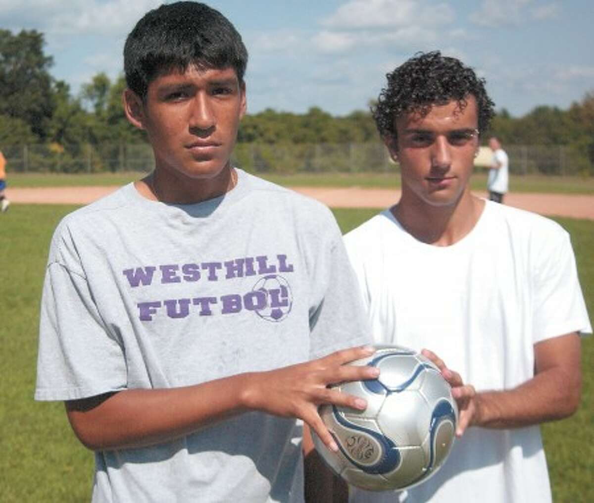 Photo by John Nash - Westhill boys soccer captains Oscar Condori, left, and Lucas Rossi lead the Vikings into 2008.