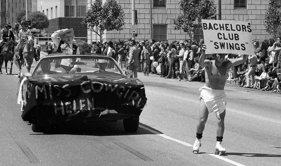 On June 25, 1972, the first San Francisco gay pride parade features revelers in floats on foot and on roller skates. Photo: Greg Peterson, The Chronicle