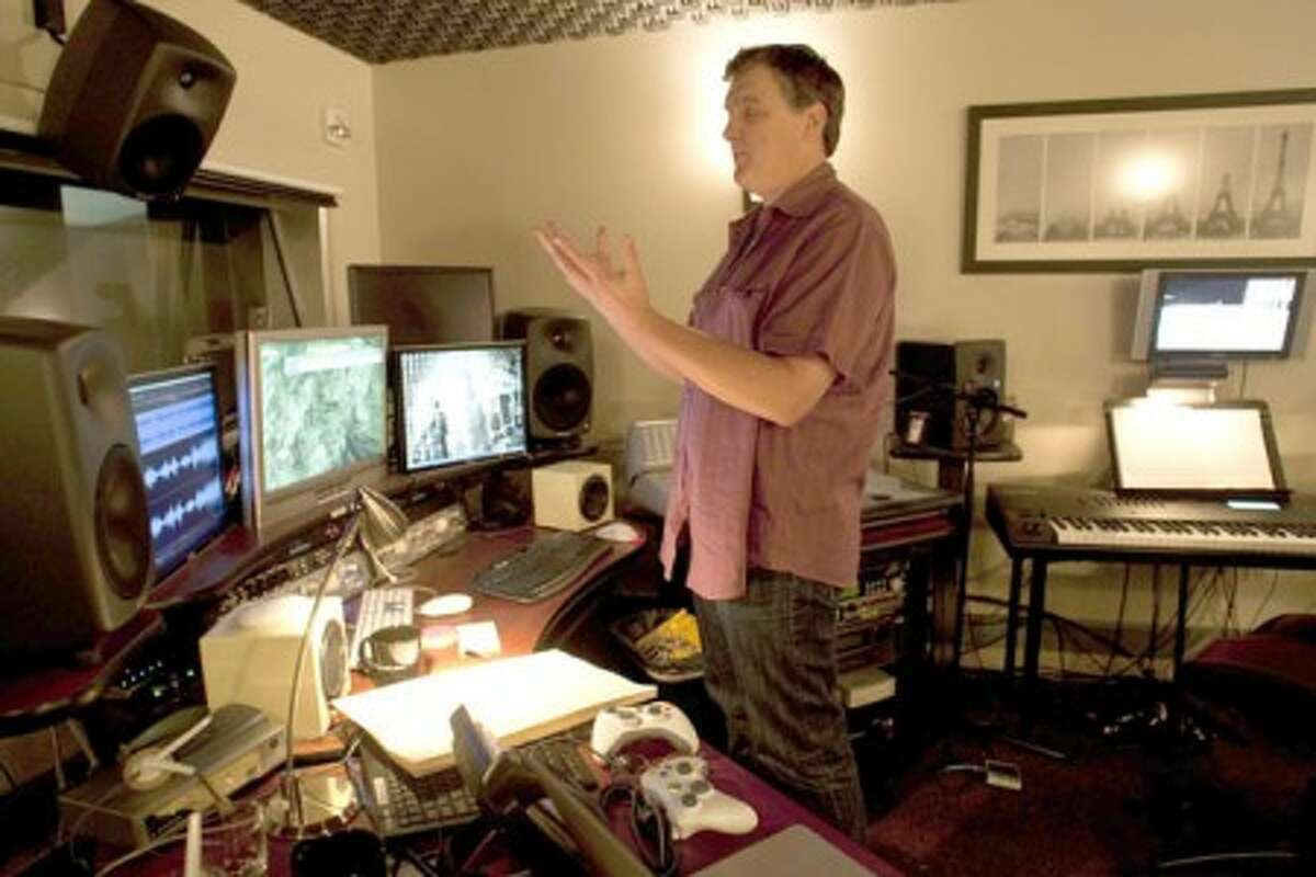 """Marty O''Donnell, here in his Bungie studio in Kirkland, Wash., composed the music for the """"Halo"""" video game. (Dean Rutz/The Seattle Times/MCT)"""