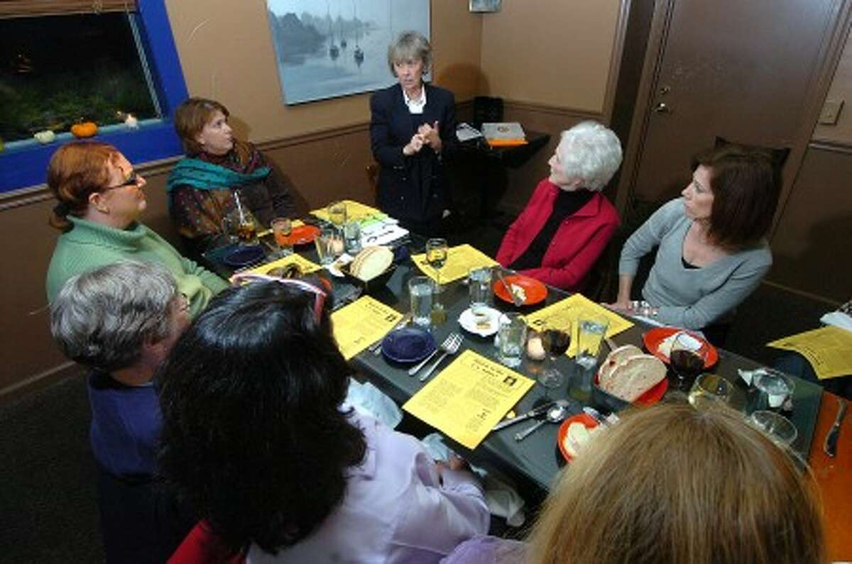 Photo/Alex von Kleydorff. Sister Maureen Fleming speaks to a group about the issues of human trafficking at a dinner at Dina''s restaurant in Wilton.