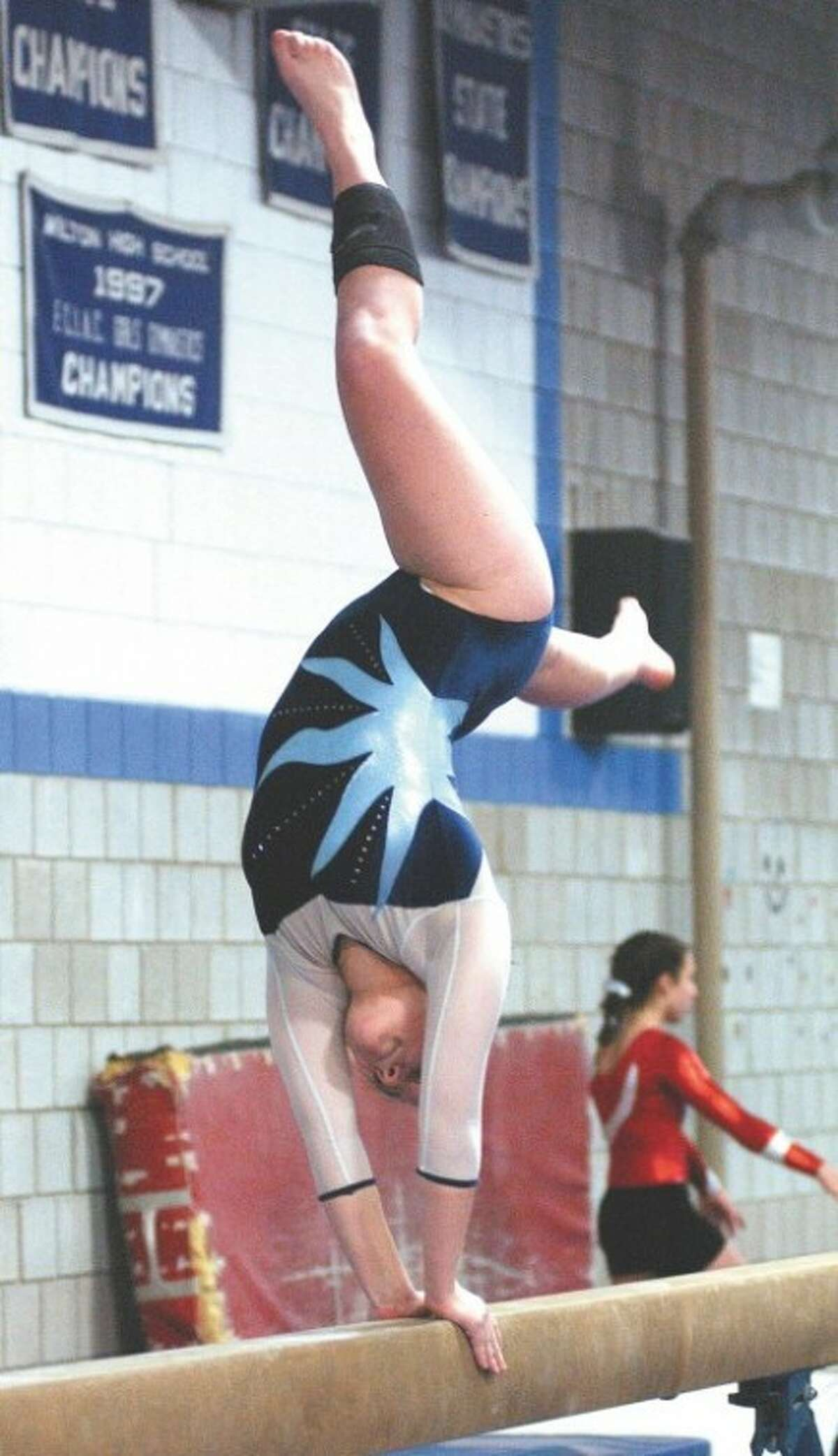 Photo by John Nash - Wilton gymnast Christy Ketley went On The Record with the Wilton Villager last week.