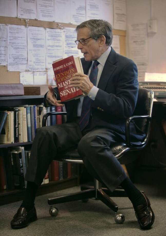 Author and biographer Robert Allan Caro during an interview in New York, Aug. 20. (AP Photo)