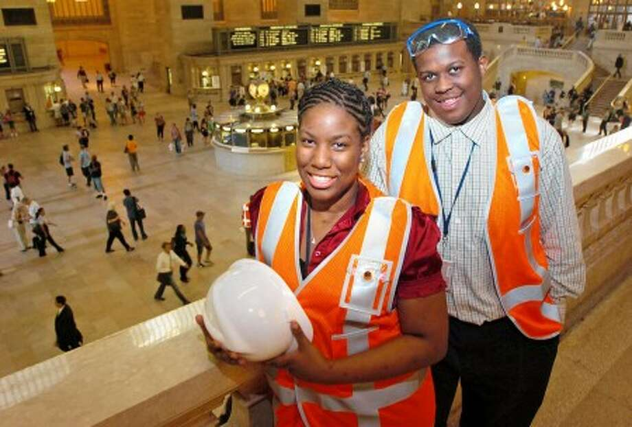 Jah-Kaila Palmer and Justin DeCausey are working in human relations department of Metro-North Railroad in Grand Central Terminal as part of Norwalk