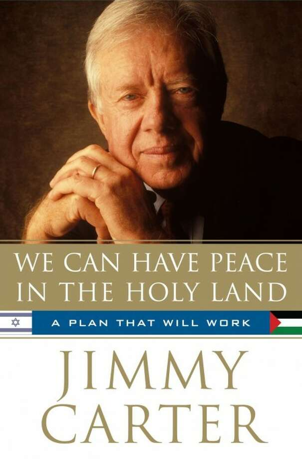 "This photo released by Simon & Schuster shows the cover of ""We Can Have Peace in the Holy Land"", by Jimmy Carter."