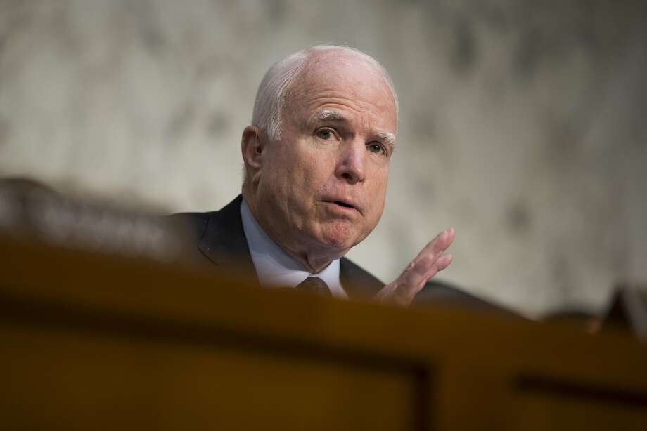 """FILE - In this April 28, 2016 file photo, Sen. John McCain, R-Ariz. speaks on Capitol Hill in Washington. McCain says President Barack Obama is """"directly responsible"""" for the mass shooting in Orlando, Fla.AP, in which a gunman killed 49 people because he allowed the growth of the Islamic State on his watch. (AP Photo/Evan Vucci, File) Photo: Evan Vucci, Associated Press"""