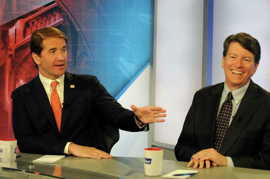 Andrew Heaney and John Faso, Republican candidates for the 19th Congressional District seat, debate on Capital Tonight at the TWC News studios on Wednesday June 15, 2016 in Albany, N.Y. (Michael P. Farrell/Times Union) Photo: Michael P. Farrell / 40036991A
