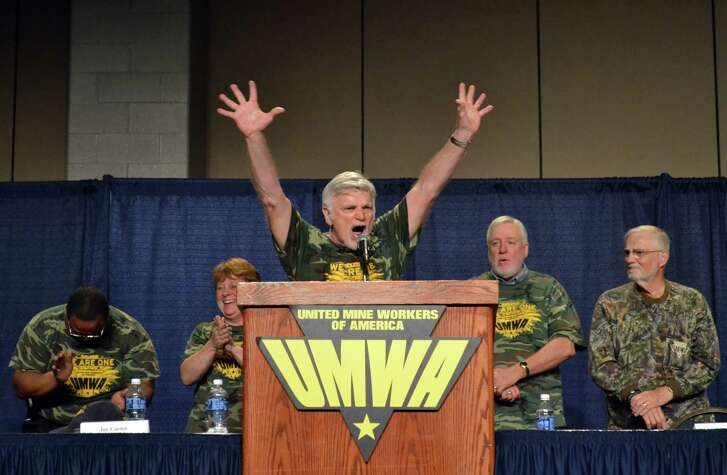 United Mine workers president Cecil Roberts Tuesday speaks to retired members in Lexington, Ky. Lexington, Ky.