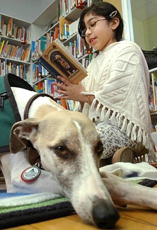 "Rosa Sanchez reads ""The Bad Beginning"" to Reading Education Assistance Dogs (READ) certified therapy dog, Brasil, during the East Norwalk Public Library''s, R2D2, Read to Dogs program Saturday. Hour photo / Erik Trautmann"