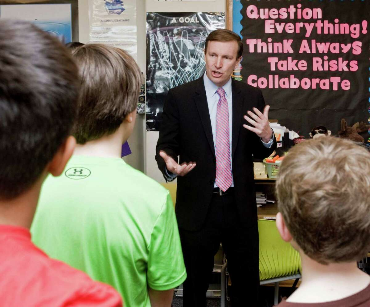 Senator Chris Murphy talks to a sixth-grade class as he visited New Fairfield Middle School for the culmination of their Wingman program, a student-led leadership program founded by Sandy Hook parents, Ian and Nicole Hockley, in memory of their son Dylan. Friday, May 6, 2016