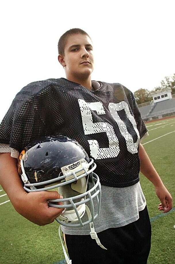 Weston high school football standout center Jake Richard/photo matthew vinci